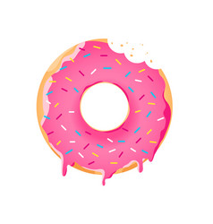 Realistic donut with colorful sprinkles vector