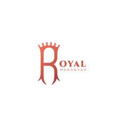 royal monogram r vector image