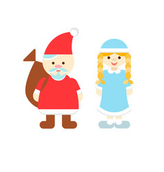 santa claus and snow maiden new years characters vector image
