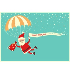 santa claus on parachute flying on blue sky vector image