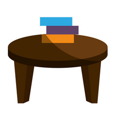 School table with books isolated icon vector