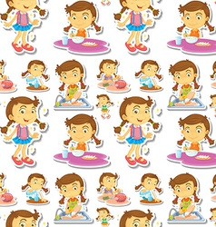 Seamle little girl doing chores vector image