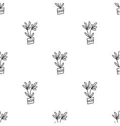 Seamless pattern with doodle flowerpots isolated vector
