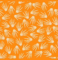 seamless pattern with human skeleton hand vector image