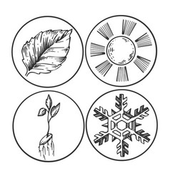 season symbols engraving vector image