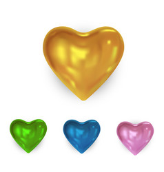 set glossy colored heart vector image