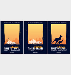 Set of posters travel to australia journey trip vector