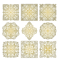 Set of square golden patterns of oriental ornament vector