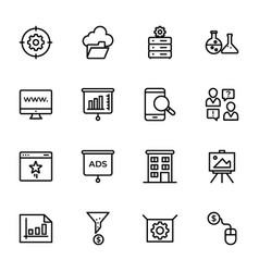 set seo and web line icons vector image