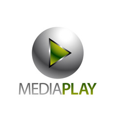 shiny sphere green media play icon logo concept vector image