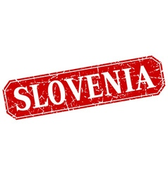 Slovenia red square grunge retro style sign vector