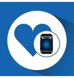 smart watch blue screen heart icon media vector image