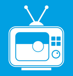 Soccer match on tv icon white vector