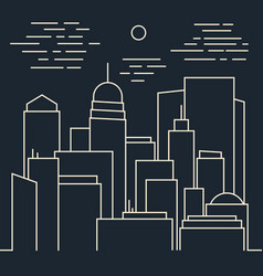 stylish night modern city line art vector image