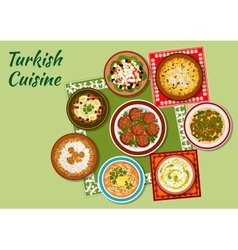 Summer dishes of turkish cuisine icon vector