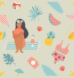 Summertime seamless pattern with pretty girl vector