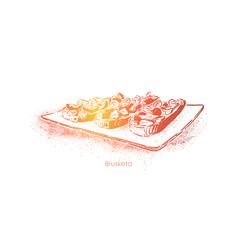Tasty bruschetta grilled garlic bread slices with vector