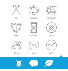 Teamwork presentation and dialog icons vector