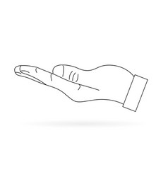 the human hand black and white on a white vector image