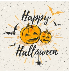 Vintage Halloween background with pumpkins vector image