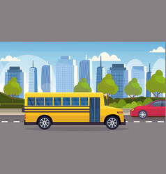 Yellow school bus driving asphalt road city urban vector