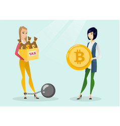 young woman choosing tax-free payment by bitcoins vector image
