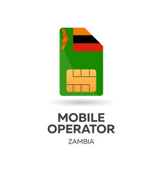 Zambia mobile operator sim card with flag vector