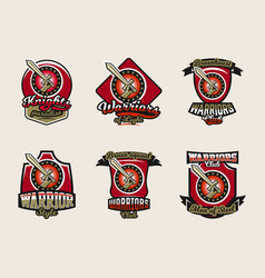 collection of colorful emblems logos stickers vector image