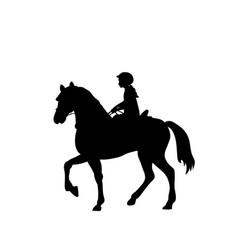silhouette girl rider horseback equitation vector image vector image