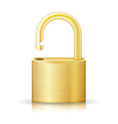 unlocked lock security yellow icon isolated on vector image