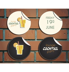 Lounge cocktail party badges and labels invitation vector image vector image