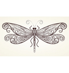 Vector dragonfly with unique pattern vector