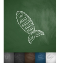 fish icon Hand drawn vector image vector image