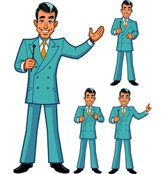 Game show host poses vector