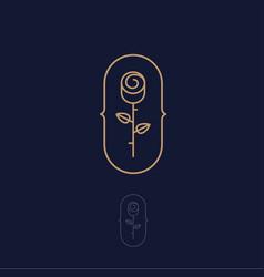 gold rose logo spa cosmetic emblem vector image