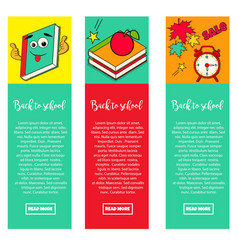 Set of bright banners back to school vector