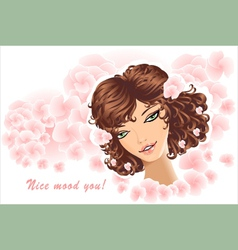beautiful girl on floral background vector image vector image