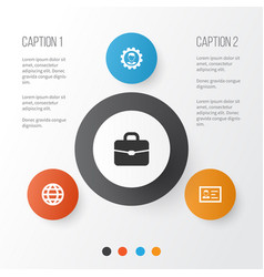 business icons set collection of earth leader vector image
