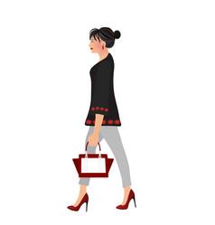 elegant woman walking vector image vector image