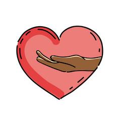 Nice hand inside of cute heart vector