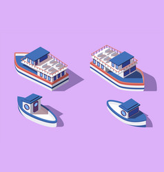 3d isometric big and small boat and barge vector image