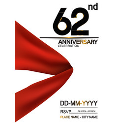 62 anniversary design with big red ribbon vector