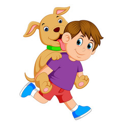 A boy and red pant is pickaback his cute dog vector