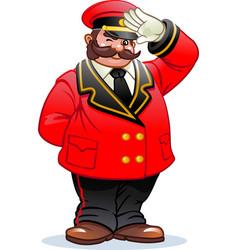 A cheerful classic doorman mustachioed vector