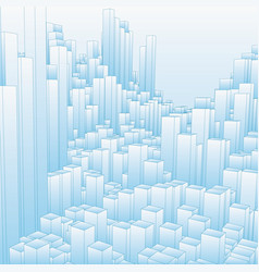 Abstract landscape with blue cubes vector