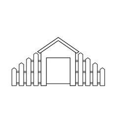 Abstract outline drawing modern house with wooden vector