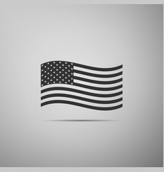 american flag icon on grey background flag of usa vector image