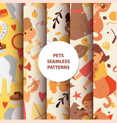 animals seamless pattern with kids characters vector image