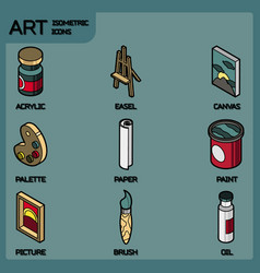 art color outline isometric icons set vector image