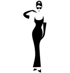 audrey hepburn shop logo fashion woman silhouette vector image